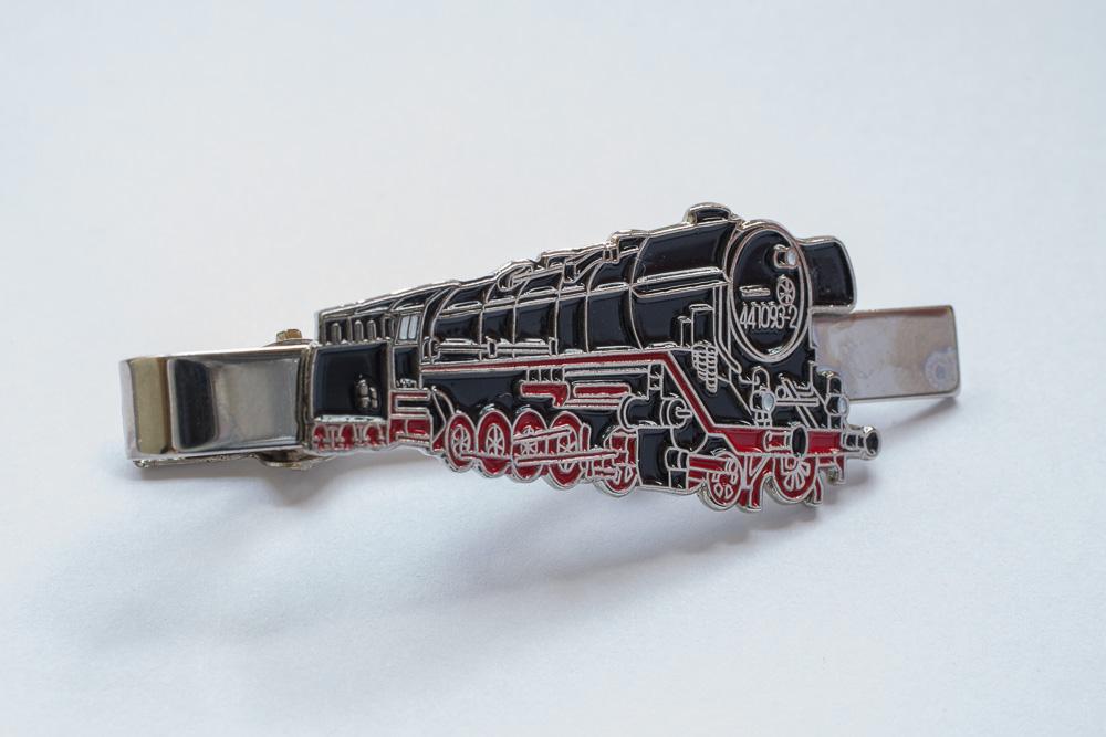 Handlackierter Krawattenklammer Motiv Dampflok Model 44