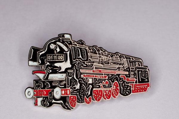 Handlackierter Ansteckpin Motiv Dampflok 01-11-00 schwarz/rot