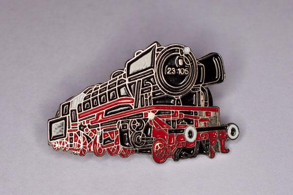 Handlackierter Ansteckpin Motiv Dampflok 23-105 schwarz/rot